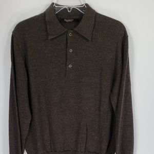 Bachrach Wool Brown Polo Sweater Men's Large Italy